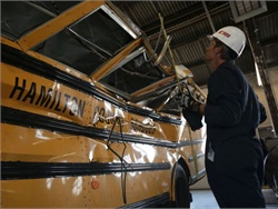 "NTSB says its new report ""examines selective issues in school bus transportation safety"" discovered in the 2016 Chattanooga (pictured) and Baltimore crash investigations. Photo courtesy NTSB"
