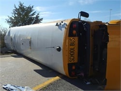 The driver of one of three school buses traveling to Opryland lost control of the bus and overcorrected, and the bus overturned when it hit a guardrail. Photo courtesy Metropolitan Nashville Police Department