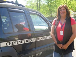 "Dunia Burns, who is employed by Chestnut Ridge Transportation in New York, was named a ""Mountie Superstar"" by the school district she serves for exceptional service to its students and staff."