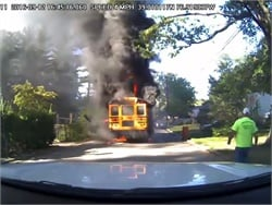 Dashcam footage from the Branchville Volunteer Fire Co. shows a school bus engulfed in flames in College Park, Maryland.