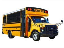 Collins Bus Corp.'s new Motiv-powered electric model is based on the Ford E-450 platform, as seen in this Collins CNG model.