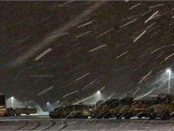 A December snowstorm hampered evening shuttle service at Comal Independent School District (ISD) in New Braunfels, Texas. This photo was taken by Christina Masterson, an area supervisor for the district.