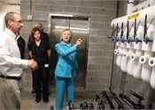 Hillary Clinton tours DART's Platinum-certified Central Station