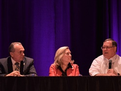 Mike LaRocco (right), president of NASDPTS, Becky Weber (center), a representative from the NSTA, and John Whetsel, a representative from the NSA, discussed several illegal passing prevention efforts during an NAPT conference town hall meeting on Monday.
