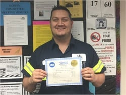 Dana Alvez, a lead maintenance technician for Durham School Services in Pennsylvania, is now an ASE master school bus technician.