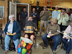 The transportation staff at Denville Township Schools recently held a celebration for school bus enthusiast Packey Butler. They also gave the 14-year-old yellow bus-themed gifts. Photos courtesy Denville Township Schools