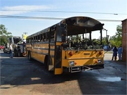 A bus operated by District Five Schools of Spartanburg County caught fire while transporting students to school on Wednesday morning. Photos courtesy District Five