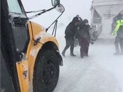 Douglas County (Colo.) School District bus drivers rescued motorists who were stuck in their cars on a handful of highways during a blizzard and took them to shelters. Photo courtesy Douglas County School District