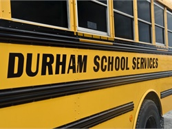 Durham School Services has seen improvements in driver behavior since deploying Lytx's event recorders across its full fleet of 15,000 buses in December 2018. Photo courtesy Durham School Services