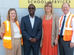 Waterloo Mayor Quentin Hart (second from left) toured Durham's local facility in June. This is one example of a public awareness initiative that promotes the value of pupil transportation.
