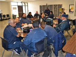 Four districts in the Sacramento, California, area are looking to recruit about 100 to 150 school bus drivers, attendants, and mechanics. Seen here are drivers at one of those districts, Elk Grove Unified.