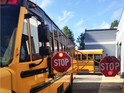 The Indiana attorney general released an opinion that states that regulations do not place a limit on the length of school bus stop arms. Shown here is an extended stop arm that was used in a pilot at a Virginia district in 2018. Photo courtesy Albemarle County (Va.) Public Schools