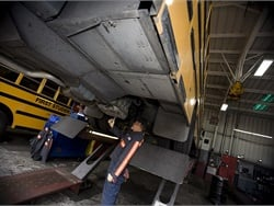 Ten First Student locations recently earned the Blue Seal of Excellence. Shown here is a First Student maintenance shop.
