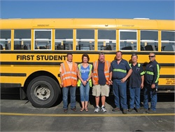 First Student's Gardner, Kansas, location received a perfect score on a recent safety review. Pictured here are safety team members. From left to right: Daniel Cain, Tina Fraser, Bill Melvold, Floyd Rolland, Don Page, and Jim McPeek.