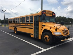 Propane buses can save pupil transportation providers on fuel, fluids, and filter costs. Shown here is one of Pasco County (Fla.) Schools' new Blue Bird Propane Vision buses.