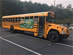 Fulton County Schools' new Blue Bird propane buses are equipped with three-point belts.