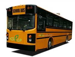 Six school districts in California have committed to buying a total of 11 GreenPower electric school buses. Shown here is GreenPower's Synapse 72 all-electric Type D school bus.