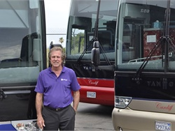 Southern California motorcoach operator Gary Cardiff caters to the private and public school transportation markets, which show an increasing interest in luxury group transportation. Photo courtesy LCT