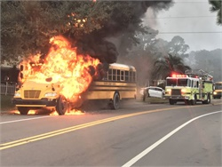 A fire broke out on a Savannah-Chatham County Public School System bus around 7 a.m. on Tuesday morning. No students were aboard at the time. Photo courtesy Chatham Emergency Services, Phil Koster