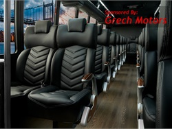 GM36 As this configuration shows, 36 employees or customers can be transported in comfort aboard the GM36. Among the standard passenger-centric features are a DVD player, premium rear audio, roof-mounted HVAC, Altro wood-look flooring, LED interior/exterior lighting, and passenger retractable seat belts.