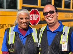 Greenville County (S.C.) Schools aide Linda (shown left) and bus driver Carlos spotted a boy who had gone missing the night before and brought him to safety. Photo courtesy Greenville County Schools