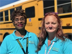 Greenville County (S.C.) Schools bus aide Carletta Cyrus (left) and Tammy Cummings, a bus driver and safety trainer for the district, used their training when their bus, which had four special-needs students aboard, was struck by a tractor-trailer. No one was hurt.