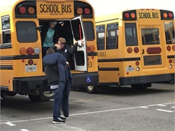 Harris County (Ga.) School District drivers and monitors practiced evacuation procedures for students with various special needs. Photo courtesy Rachel Crumbley