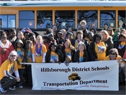 Drivers, attendants and other transportation staff members from Hillsborough County (Fla.) Public Schools decorated a bus and took part in a local Martin Luther King Jr. Day parade.