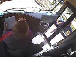 The Hillsborough County (Fla.) Sheriff's Office said that a motorist stopped in front of a school bus and kicked a panel on the door when the bus driver wouldn't open it. The incident was captured on surveillance footage.