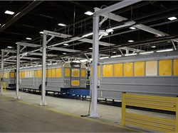 IC Bus has invested about $17 million in upgrades to its Tulsa, Oklahoma, plant, including to the painting process. Here, school buses wait to be painted in the pre-paint work station.