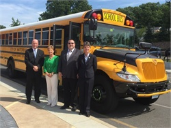 Durham will use IC Bus propane buses to serve Waterbury (Conn.) Public Schools. Pictured from left: Joe Geary of the Waterbury mayor's office; district Superintendent Kathleen Ouellette; Steve Schmuck of Durham; and Trish Reed of IC Bus.