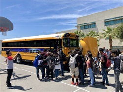IC Bus demonstrated its concept electric school bus, the chargE, at the Engineering and Technology Academy at Esteban Torres High School in Los Angeles.