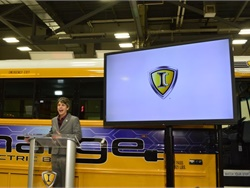 IC Bus unveiled its new IC Electric Bus ChargE, a concept school bus, at the National Association for Pupil Transportation trade show. Shown here is IC Bus Vice President and General Manager Trish Reed.