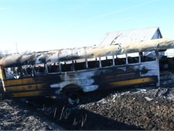 After investigating the 2017 fatal school bus fire in Iowa, the NTSB has recommended several new school bus safety requirements and called for fire suppression systems on school buses. Photo courtesy Pottawattamie County Sheriff's Office