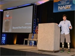 Jeff Bauman told NAPT Summit attendees about how he lost both legs in the 2013 Boston Marathon bombing but was able to give investigators a description of the suspect he had seen.