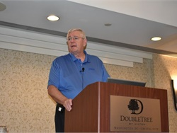 Ken Hedgecock, the vice president of sales, marketing, and service for Thomas Built Buses, discussed electric school buses among other topics at the annual NASDPTS conference in Washington, D.C.
