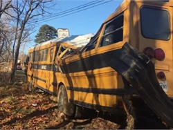 Trey Halfhill of Kentucky helped a school bus driver whose bus was involved in a crash that turned the bus on its side. He entered the bus and kept the driver calm. Screenshot from video by Lawrence County (Ky.) Emergency Management Agency