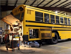 Following two recent bus fires, Klamath County School District sidelined 14 buses of the same model and year. Now the district is making changes to wires and hydraulic lines. Photo courtesy Klamath CSD