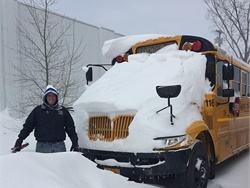 Kodie Shamrock, acting supervisor of transportation at North Tonawanda (N.Y.) City School District, needed to dig out buses after a storm dropped 19 inches of snow.