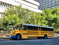 The California Energy Commission (CEC) approved on Monday nearly $70 million in funding to replace more than 200 of the state's diesel school buses with electric buses. Shown here is The Lion Electric Co.'s Type C school bus. Photo courtesy The Lion Electric Co.