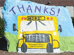 Students at Holly Springs (N.C.) High School painted their school's rock for School Bus Driver Appreciation Week.