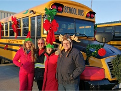 Transportation staff at school bus contractor M.L. Bradley in Navan, ON, decorated one of their school buses for the annual Santa's Parade of Lights in Orleans, ON, on Nov. 30. Photo courtesy Paul Dupuis
