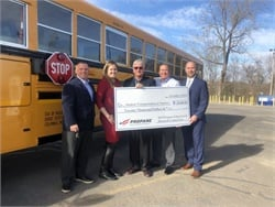 The Missouri Propane Education and Research Council presented Student Transportation of America (STA) with a $20,000 rebate check for purchasing 10 new propane school buses. Photo courtesy STA