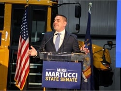 Mike Martucci, the former owner and founder of Quality Bus Service and past president of the New York School Bus Contractors Association, announced his bid for the New York state Senate. Photo courtesy Friends of Mike Martucci