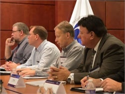 States that have passed school bus seat belt legislation will share their experiences with NHTSA in a meeting next month. Pictured is NHTSA's July 2015 meeting on the seat belt topic. Photo courtesy NHTSA