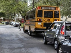 A NHTSA report shows that most child fatalities in school-transportation-related crashes take place outside of the bus or in other vehicles. Photo courtesy NHTSA
