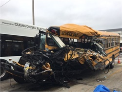 NTSB's newly released report includes findings and recommendations on the 2016 fatal school bus crashes in Chattanooga, Tennessee, and Baltimore, Maryland. Seen here is the school bus from the Baltimore crash.