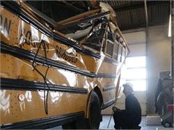 NTSB's preliminary report on the Chattanooga crash offers a few new details, including confirmation that the driver had been in two school bus crashes since the start of the school year. Photo courtesy NTSB