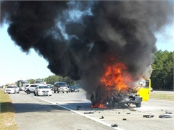 A report commissioned by FMCSA sheds light on the frequency and common causes of fires in school buses and motorcoaches. Photo courtesy NYPD