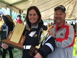 Karen Lucadamo, the winner in the Conventional Bus (Type C) category, is shown here with James Rogan, the NYSBCA Safety Competition chair.